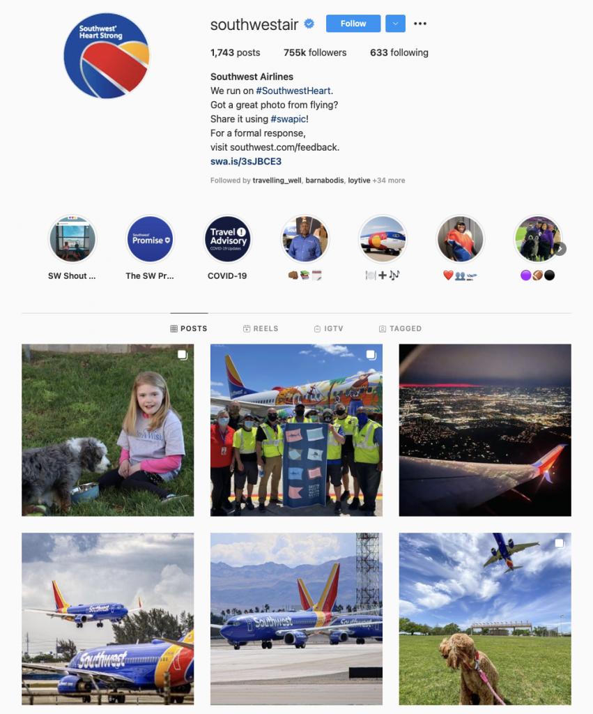 World's best airline brands on Instagram — Southwest Airlines