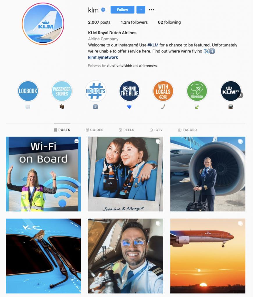 world's best airline brands on instagram — KLM