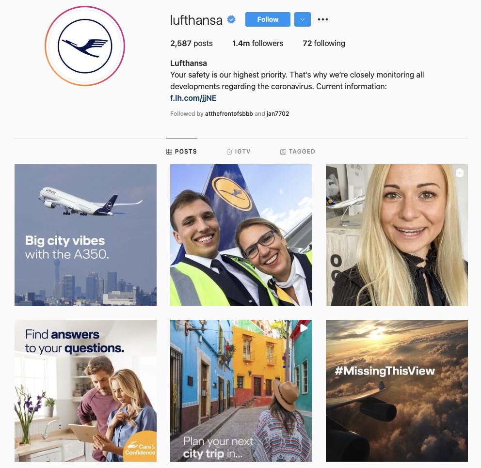 best airline brands on instagram — Lufthansa