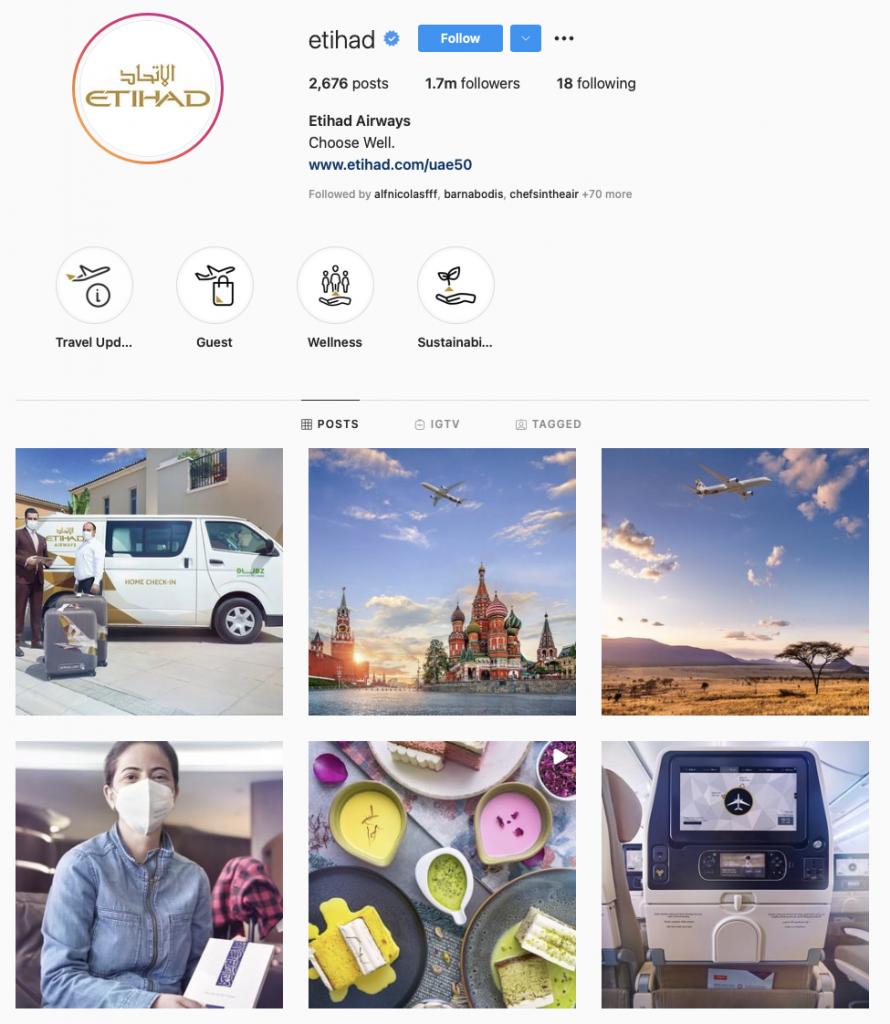 world's best airline brands on instagram — Etihad