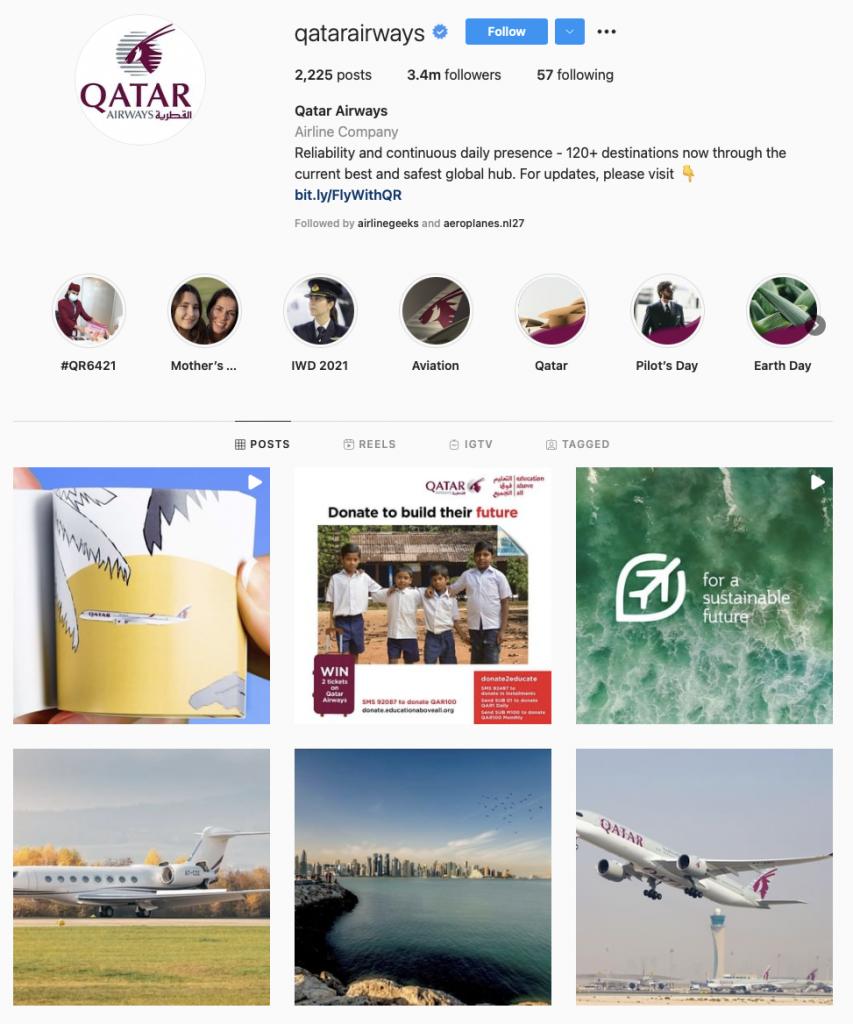 world's best airline brands on instagram — Qatar Airways