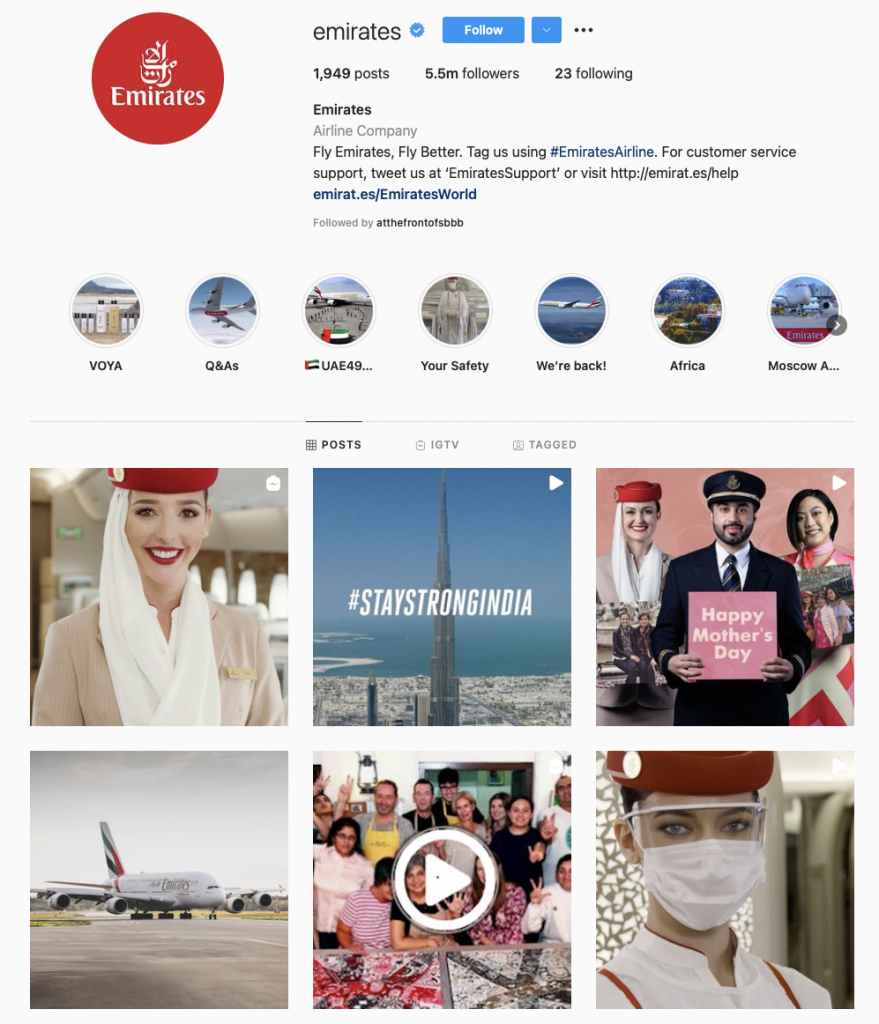 world's best airline brands on instagram - emirates