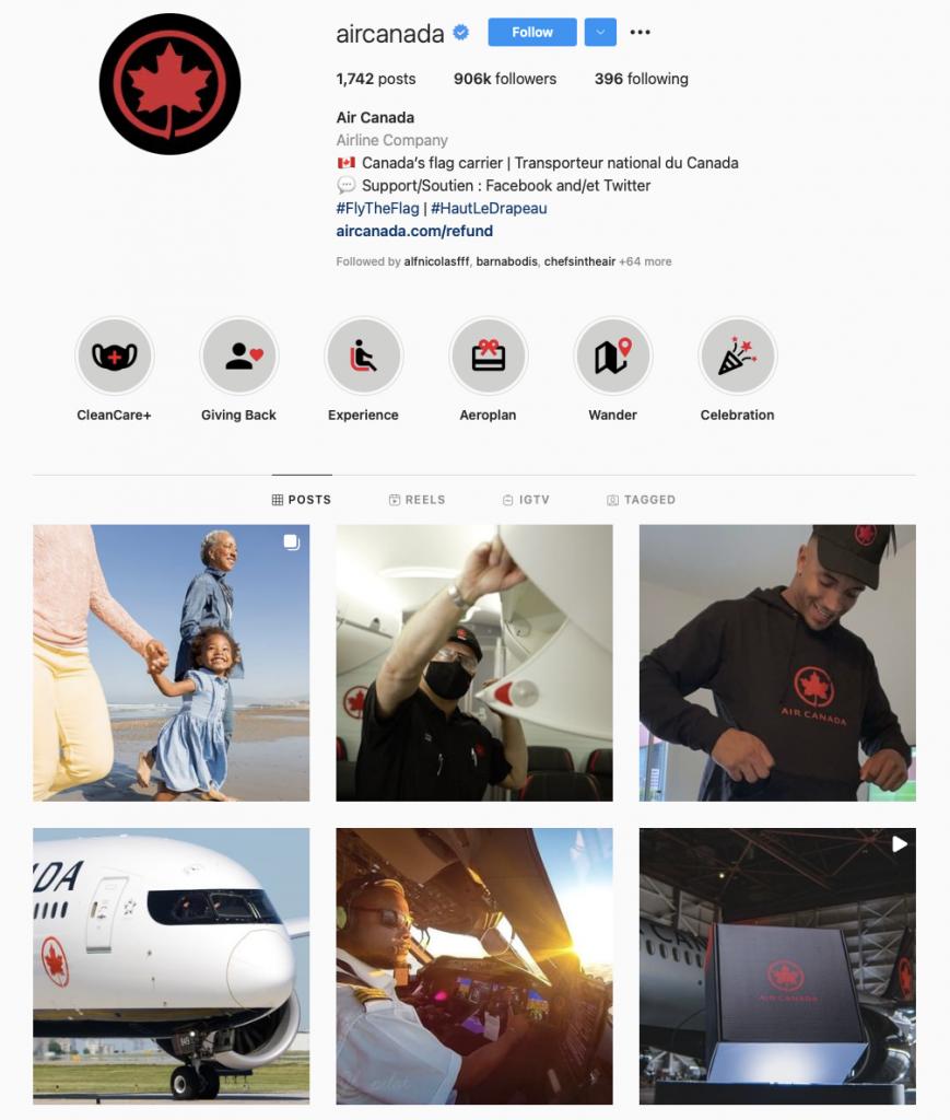 world's best airline brands on instagram — Air Canada