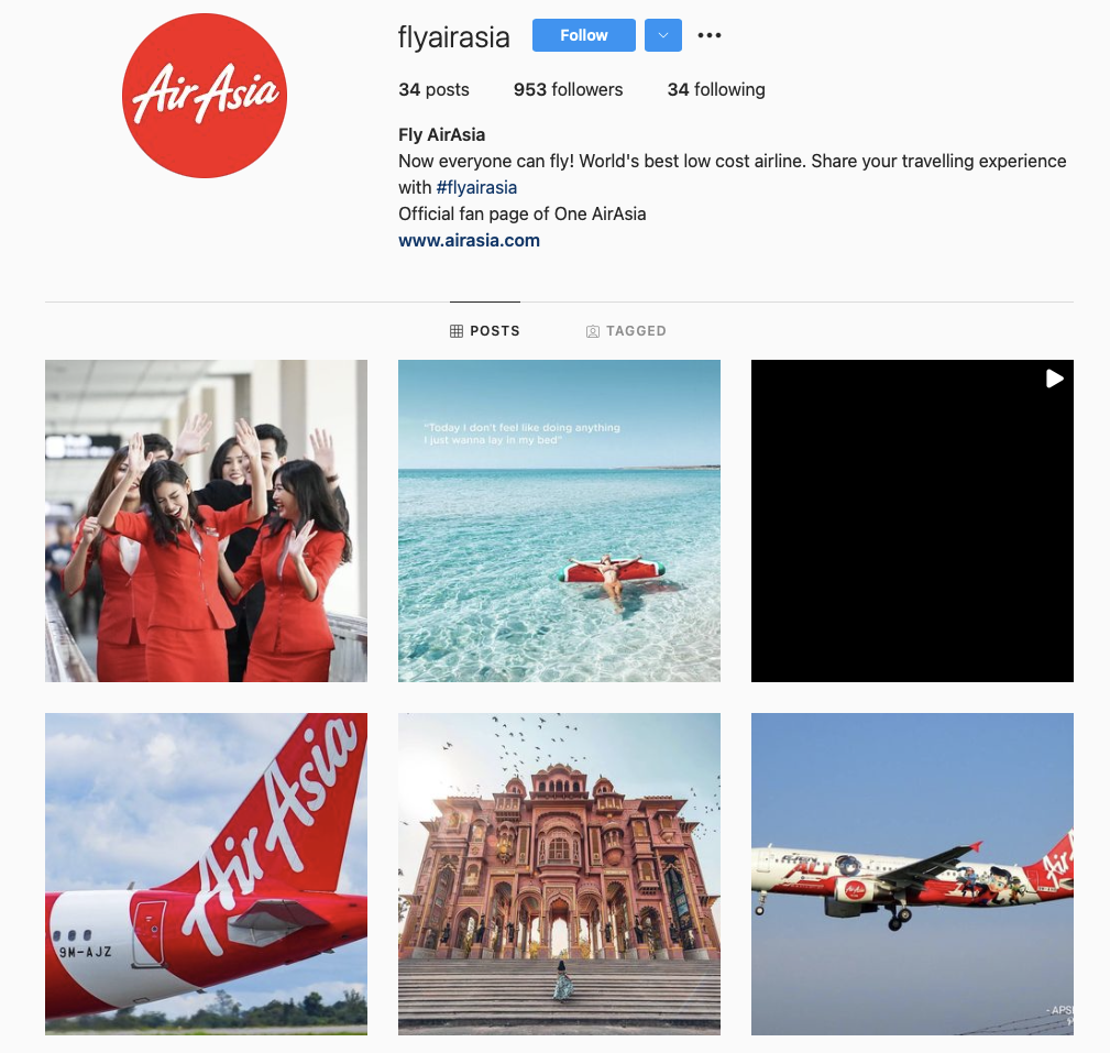 world's best airline brands on instagram - airasia