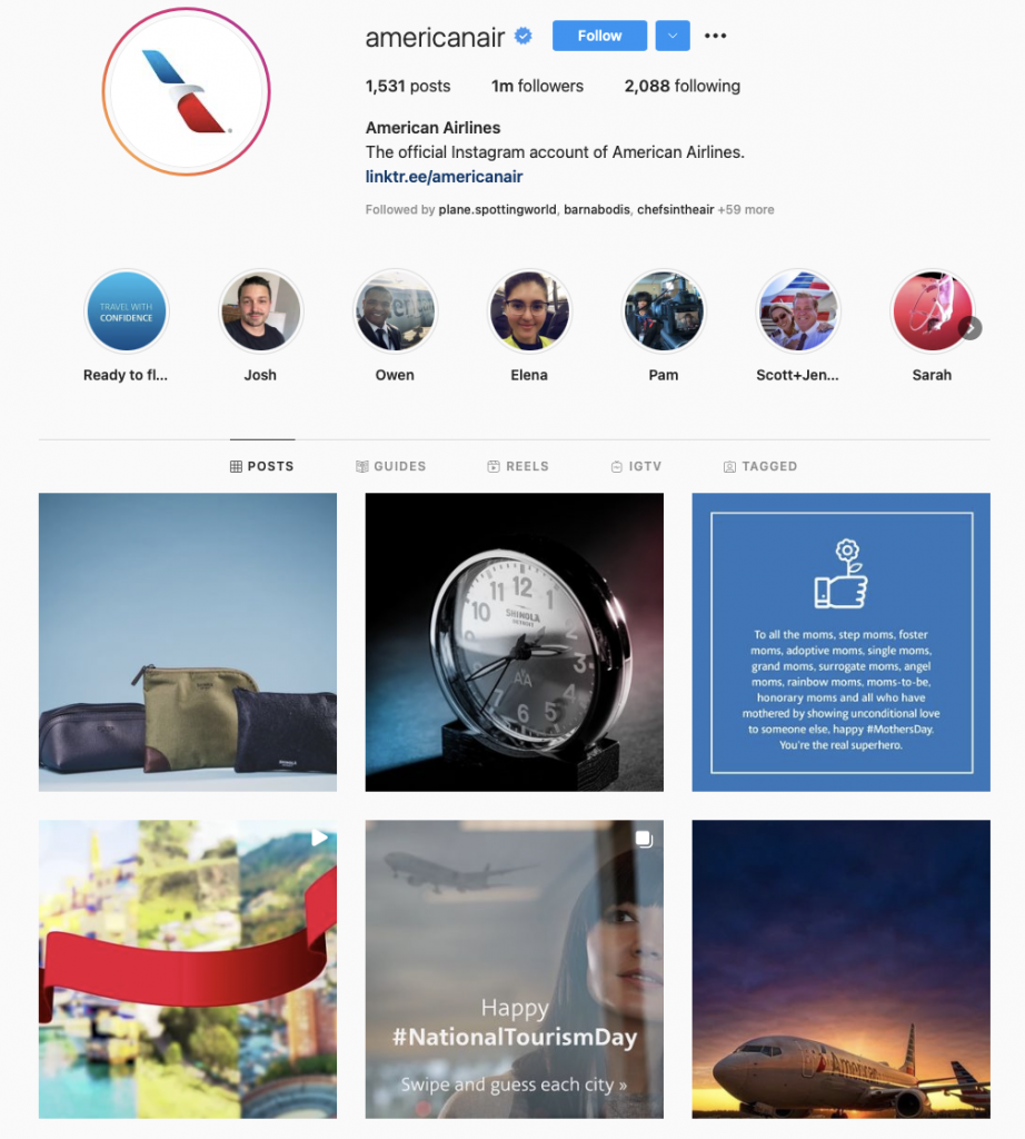 world's best airline brands on instagram — american airlines