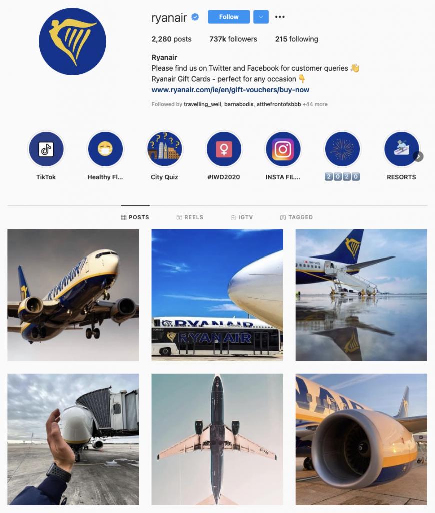 Best Airline Brands On Instagram — Ryanair