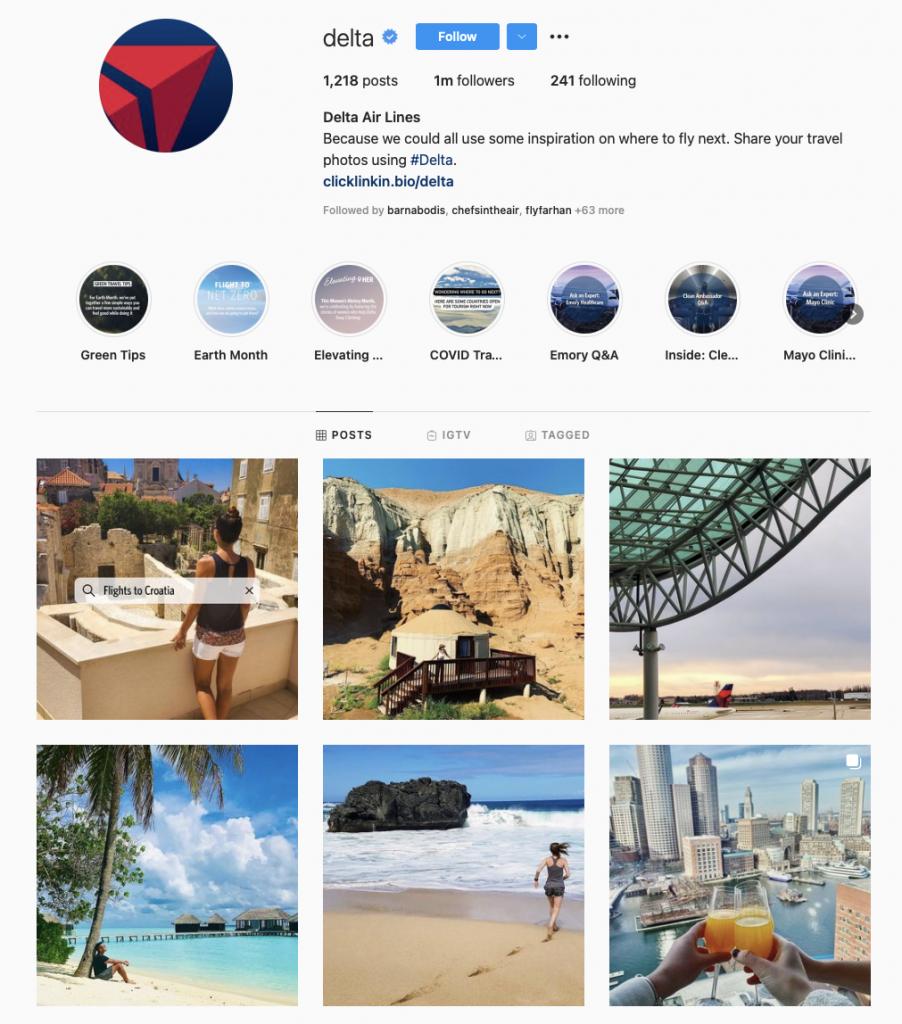 best airline brands on instagram - delta air lines